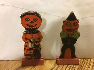 RARE! Vintage German Halloween 1920s Pumpkin Man And Woman Skittle Game Piece