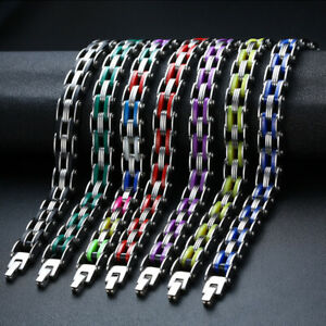 316L MAN Stainless Steel Rainbow Silicone Biker Bracelet High Polished Chain 8""