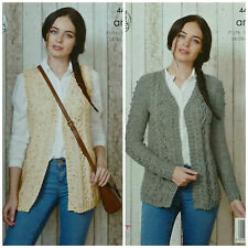 Knitting Pattern Donna V-neck Cable & Bobble Panciotto & Cardigan Aran KC 4432