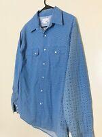 Vintage Wrangler Blue Diamond Pearl Snap Western Shirt Size L Rodeo Rancher