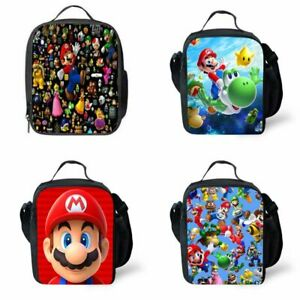 Kid Boys Girls Super Mario Insulated Lunch Bag Pack School Bag Food Picnic-UK