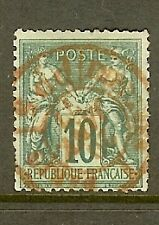 "FRANCE STAMP TIMBRE N° 76 "" SAGE 10c VERT TYPE II "" OBLITERATION ROUGE A VOIR"