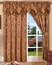 SET OF 2 PENELOPIE CURTAIN PANELS WITH ATTACHED AUSTRIAN VALANCE 84 inches long