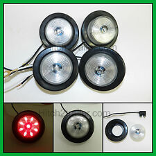 """(4) CLEAR / RED 9 LED Light Trailer 2"""" round,w/2 plug,Grommet Clearance 2.0"""""""