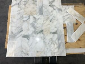 Subways Marble Tiles, Calacatta Luxury Marble Floor Wall Natural Stone 100x300mm