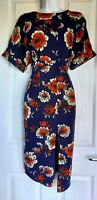 Womens Asos Dress size 8 midid blue flower pencil party occasion work vgc