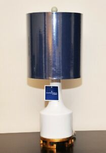 Curations By Couture New Accent Lamp With Blue Shade White Base Gold Trim