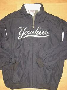 boys Majestic NY Yankess baseball full zip 16-18 jacket outerwear blue MLB XL