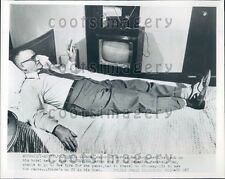 1953 Morden Manitoba Mayor H A Cochlan Smokes Cigar Watches TV Press Photo