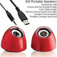 Red 6W Portable Laptop/PC/Tablet Speaker Kit –USB/AUX 2.0 Stereo Active Sound
