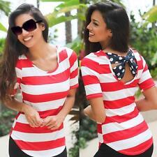 Summer Women Short Sleeve Blouse Casual Back Bow Vest T-Shirt Striped Tank Tops