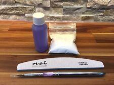 NSI Acrylic Nail Liquid 50ml Monomer, 40g Totally Clear powder + Brush + File