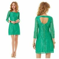 LILLY PULITZER Camellia Lace Green Shift Dress Cocktail 3/4 Sleeve size 0 CLK