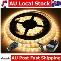 Warm White 300 SMD Waterproof 3528 5M LED Strip Light+DC connector+2A Adapter
