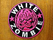 WHITE  Zombie Pink Band Embroidered iron on patch Heavy metal oriented sound DIY