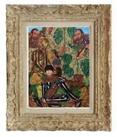 DECOUVERTE D'UNE ANCIENNE PEINTURE ART BRUT / SINGULIERE / OUTSIDER 1985  (8)