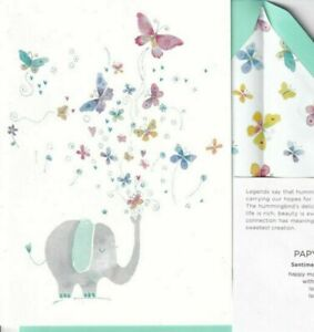 CUTE Papyrus Mother's Day card Elephant with Glitter Butterflies -Love Love Love