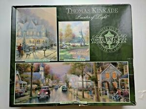 Deluxe Set Thomas Kinkade Painter of the Light 3 Puzzles NEW