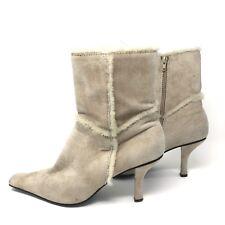 Nine West Cream Boots Booties 8 Suede Faux Fur