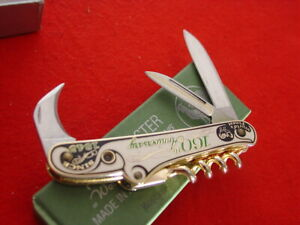 """Hen & Rooster Germany 3-1/4"""" 160th Anniversary Stanhope Lens Bartenders Knife"""