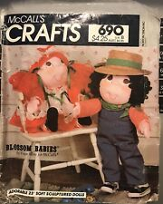 Vtg McCall's Crafts Faye Wine Blossom Babiespattern 690 Girl & Boy Dolls uncut