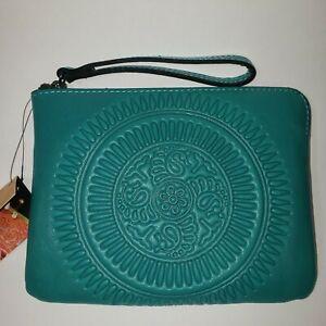 Patricia Nash CASSINI Leather Wristlet Tooled FLORENCE P34906 Aqua