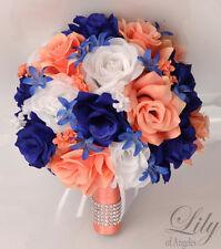 17 Piece Package Silk Flower Wedding Bridal Bouquet CORAL DARK BLUE NAVY ROYAL
