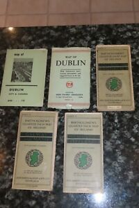 1940 COLLECTION OF 5 MAPS OF IRELAND WEXFORD MAYO DUBLIN ANTRIM DONEGAL GALWAY