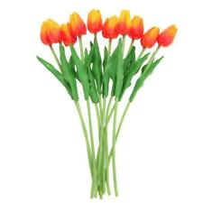 10pcs PU Tulips Artificial Flowers Bouquet Wedding Home Decor (Yellow Red H1