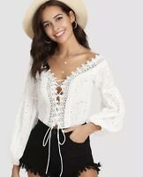 BOHO SUMMER WHITE LACE TOP / BELL BALLOON SLEEVES TIES UP COLLAR BODYSUIT SZ S