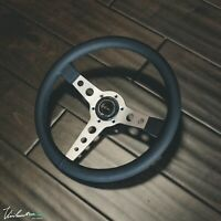 VIILANTE CORSA 350mm STEERING WHEEL PERFORATED LEATHER BLACK STITCH SILVER SPOKE