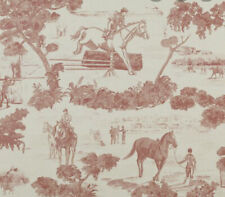 Vtg Ralph Lauren Wallpaper Roll Red Pink Equestrian Horse Toile 'And They're Off