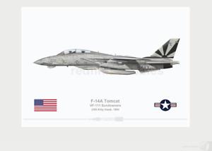 Warhead Illustrated F-14A Tomcat VF-111 Sundowners 200 Lo-vis Aircraft Print