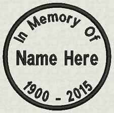 """2 Custom Round Patches - In Memory of, Name Tag, badge, 2.75""""  Iron On or Sew On"""