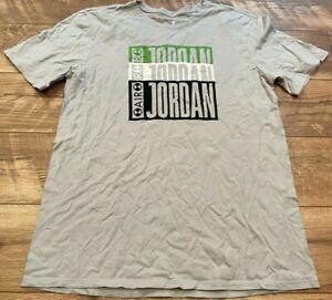 NIKE Gray Green White JORDAN III Chlorophyll Logo s/s T Tee Shirt mens Large LG