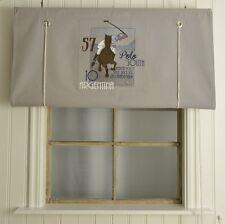 POLO CLUB Raffgardine 140x140cm Raffrollo England Gardinen Curtain grau Vorhang