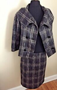 Exquisite Max Mara Large Collar Double breasted Mohair Skirt Suit 8