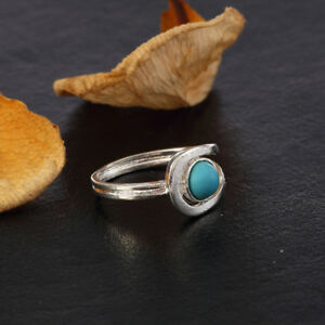 Chic Silver Tone Tibetan Turquoise Statement Charm Ring Bohemian Vintage Jewelry