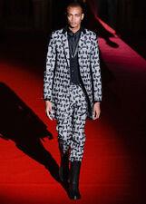 RYNSHU MASATOMO JAPAN leather panel mesh circle coat wool silk jacket XXXL NEW