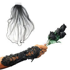 Artificial Handheld Black Gothic Rose Flowers, Black Veil & Finger Loop Gloves