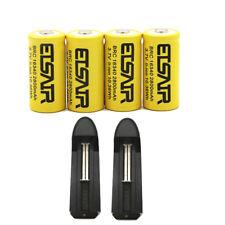 4pcs 16340 CR123A 3.7V 2800mAh Rechargeable Li-Ion Battery Batteries 2X charger