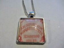 Ouija Board Glass Pendant Necklace Pink ( Handmade )