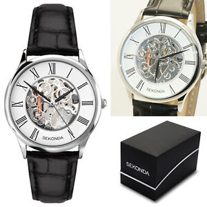 Sekonda Gents Mens Skeleton Watch White/Transparent Dial Black Leather Strap
