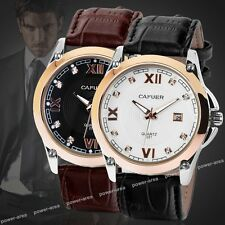 Herren Armbanduhr Leder Armband Uhr Edelstahl Herrenuhr mit Datum NEU