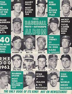 Baseball Photo & Autograph Album Official 1963 MLB Magazine Program Mantle, Mays