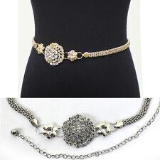 Women Bling Full Metal Chain Hip Waist Belt Gold Silver Rhinestone Flower Circle