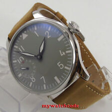 44mm parnis gray dial cow leather aisa 6497 hand winding movement mens watch 458