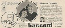 W1762 BASSETTI - Virginia Lisi di Napoli - Pubblicità del 1958 - Vintage advert