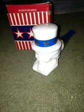 Vintage/Signed/Avon/1975/ White opal glass/Men's/Uncle Sam/Wild Country