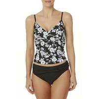 Tropical Escape Women's Twist-Front Tankini Swim Top - Floral  NWT$44 size 14